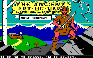 The Ancient Art of War DOS Main screen (EGA/Tandy)