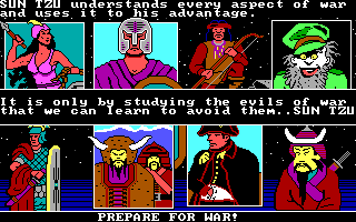 The Ancient Art of War DOS Choose your opponent / Prepare for War! (EGA/Tandy)