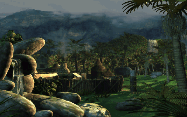 Lands of Lore: Guardians of Destiny DOS The intro begins with a lovely view of a peaceful village...