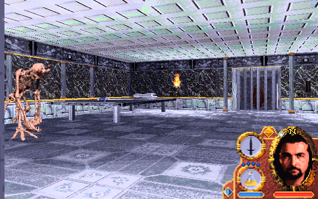 Lands of Lore: Guardians of Destiny DOS Draracle's hall. The skeleton looks tired