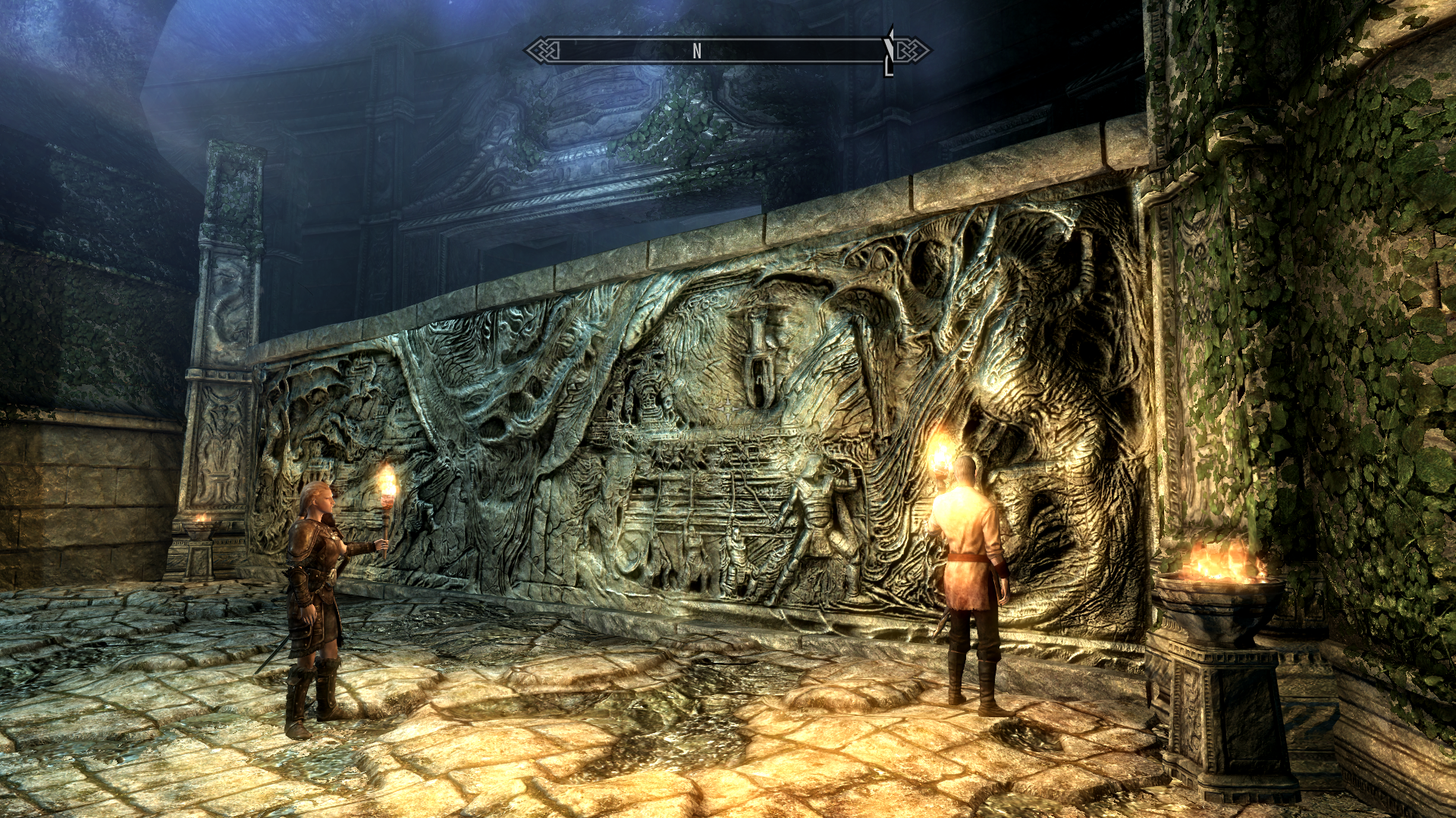 The Elder Scrolls V: Skyrim Windows Delphine and Esbern in front of Alduin's Wall in Sky Haven Temple.