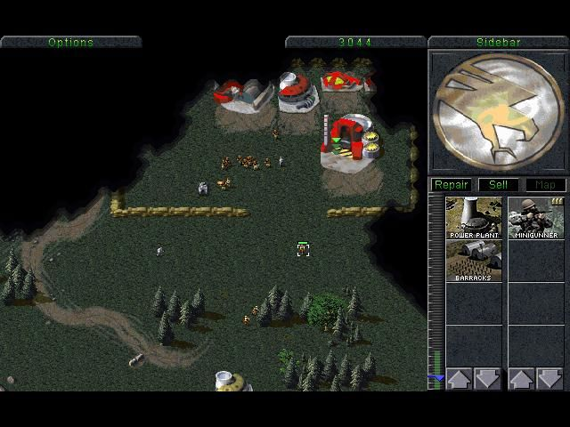 Command & Conquer (Special Gold Edition) Windows Enemy base, time to capture the builds