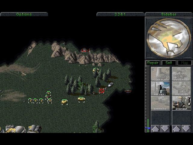 Command & Conquer (Special Gold Edition) Windows Enemy has a anti-air, grenadiers must destroy it.