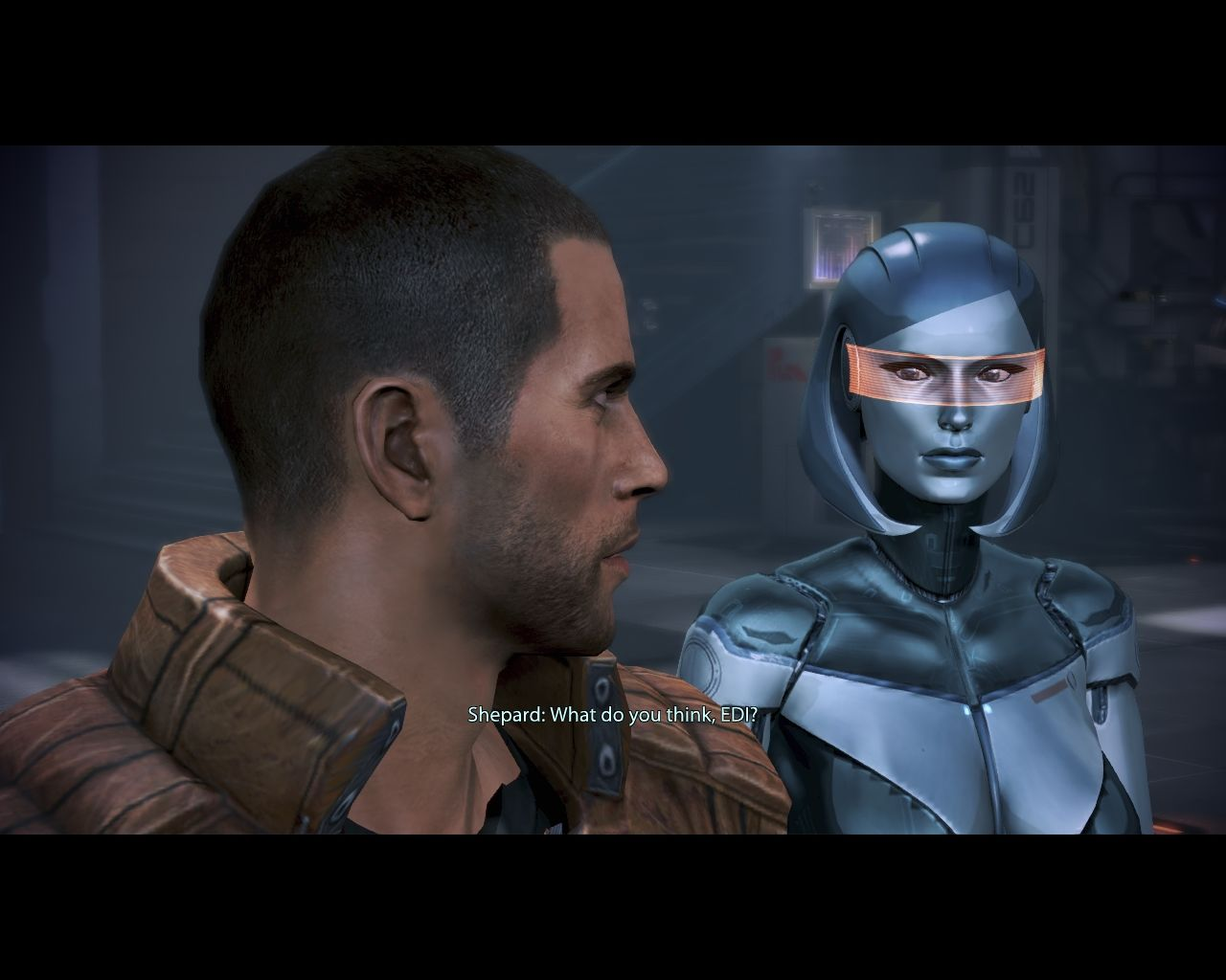 Mass Effect 3: Leviathan Windows Shepard asks for EDI's help.