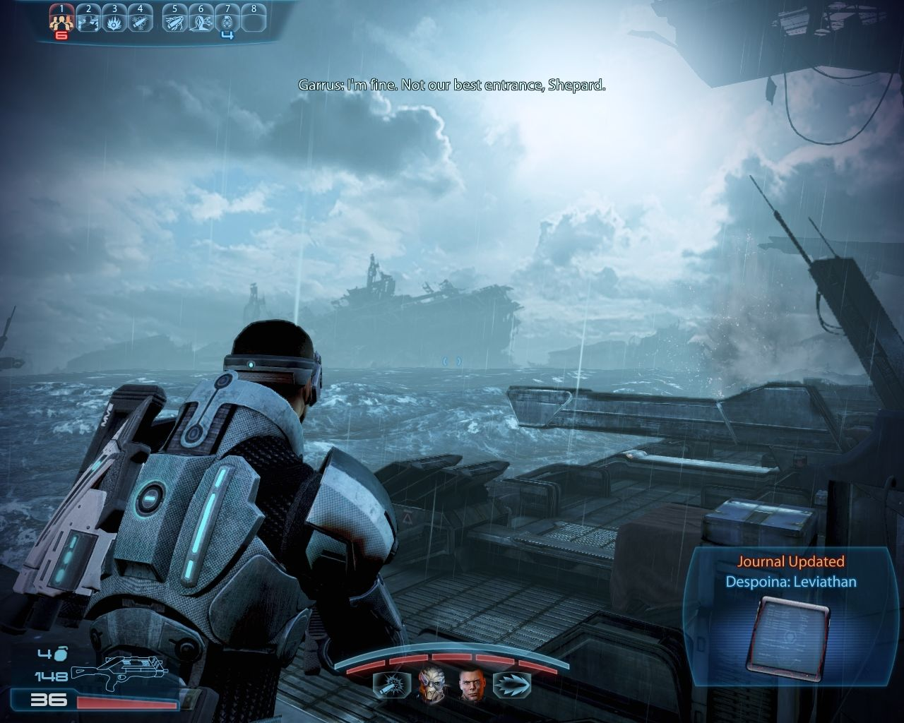 Mass Effect 3: Leviathan Windows Fast forward .. we arrive at our final destination. It looks like a Bermuda Triangle kind of place. It's littered with shipwrecks, most of them ancient.