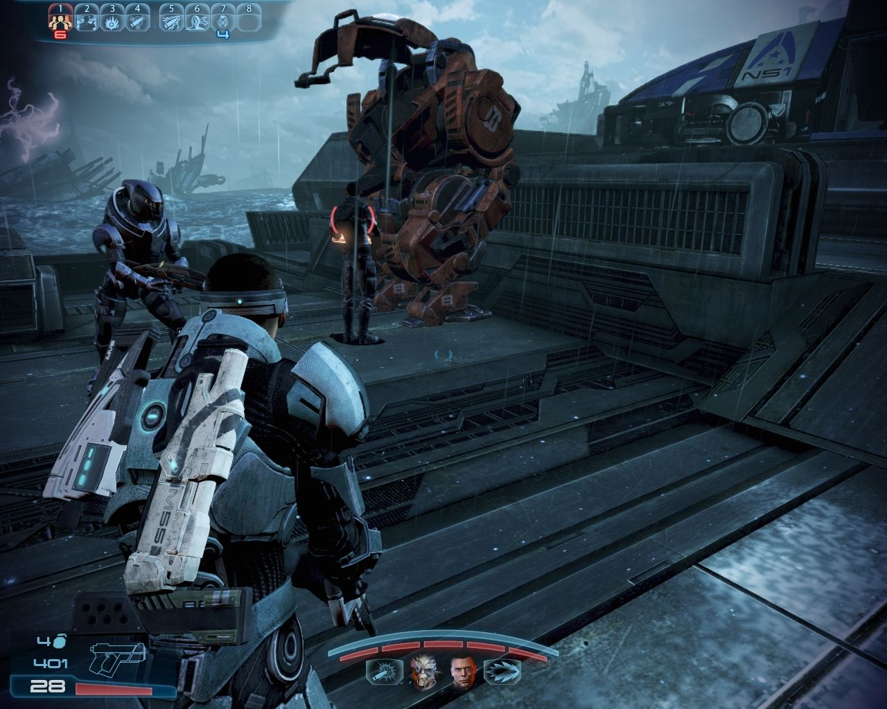 Mass Effect 3: Leviathan Windows The mech is getting checked out by Cortez.