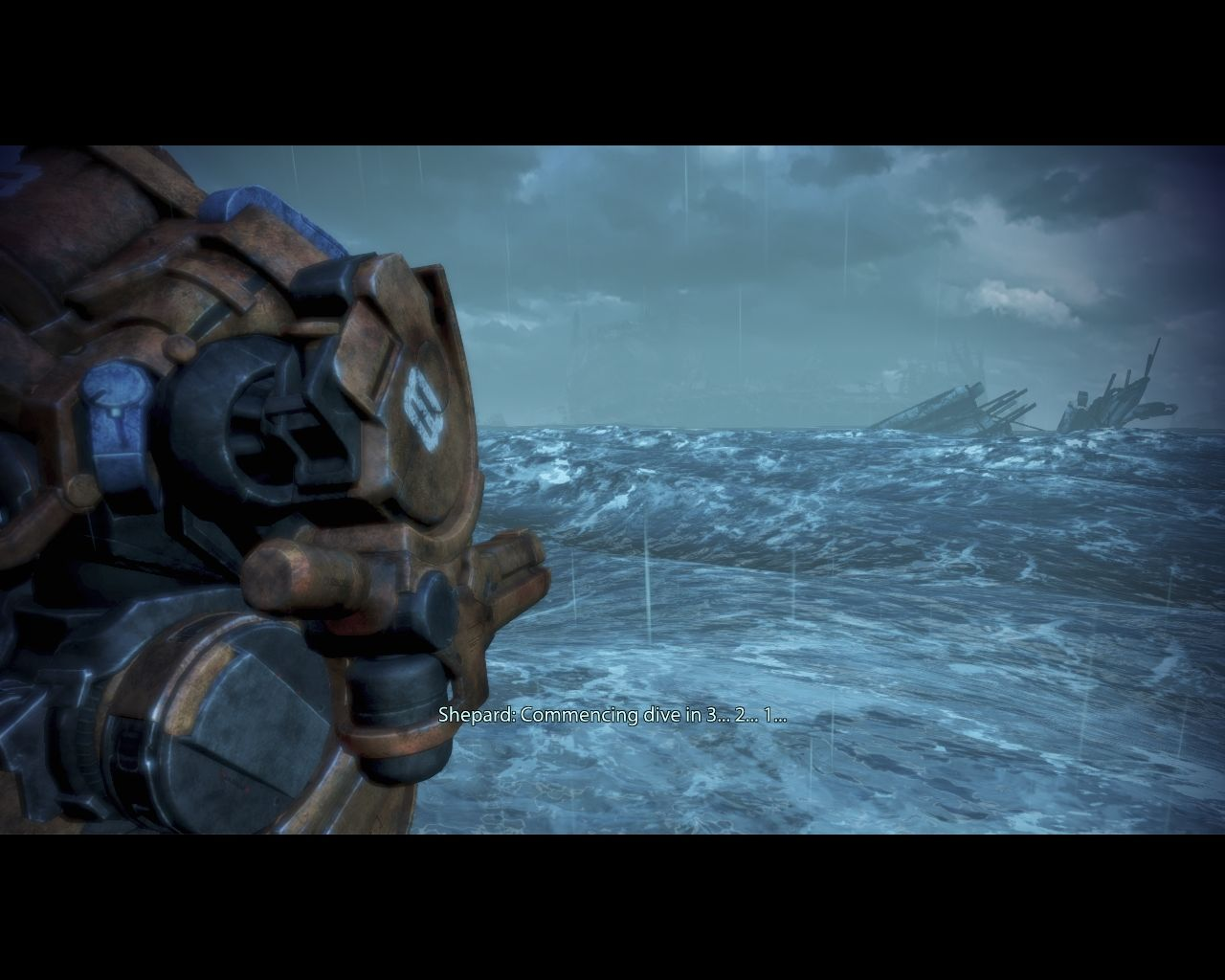 Mass Effect 3: Leviathan Windows Shepard, inside the Mech, begins his plunge into the icy water.