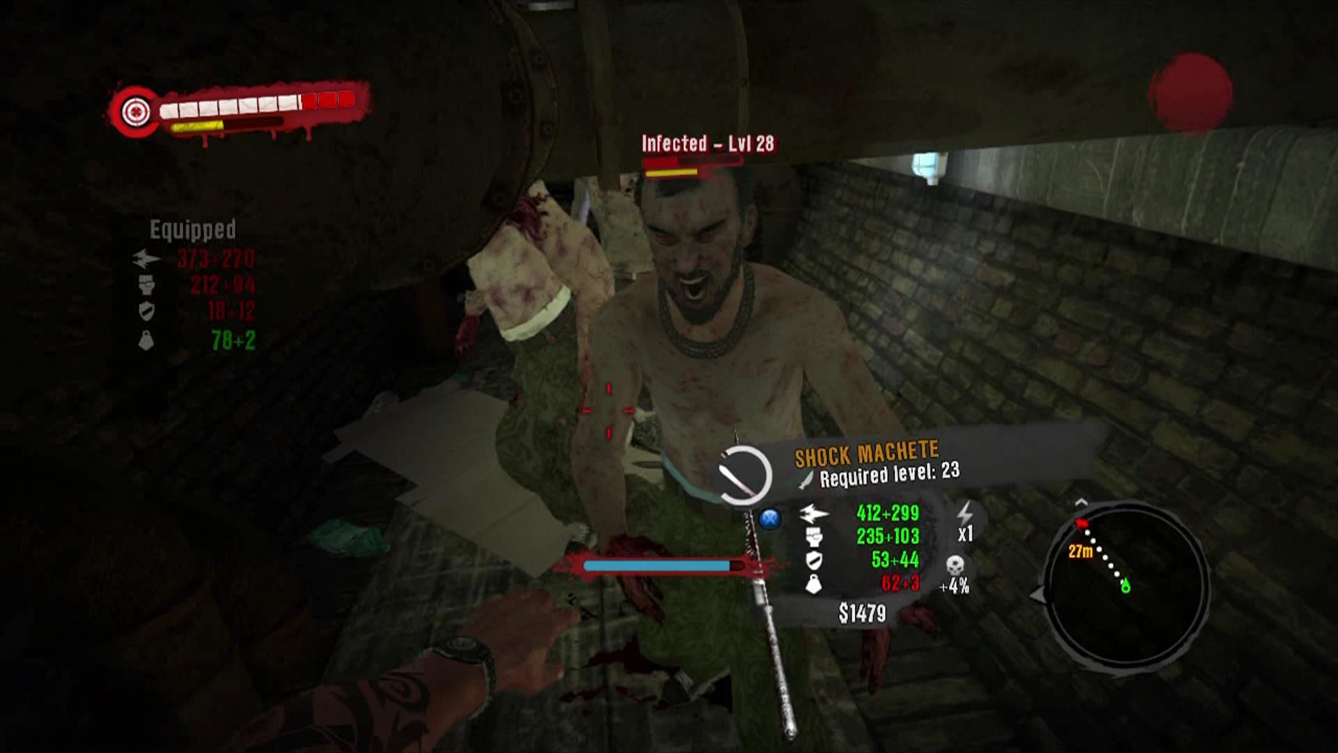 Dead Island Xbox 360 You will get swamped by Undead. Thrown weapons will stick to them for retrieval.