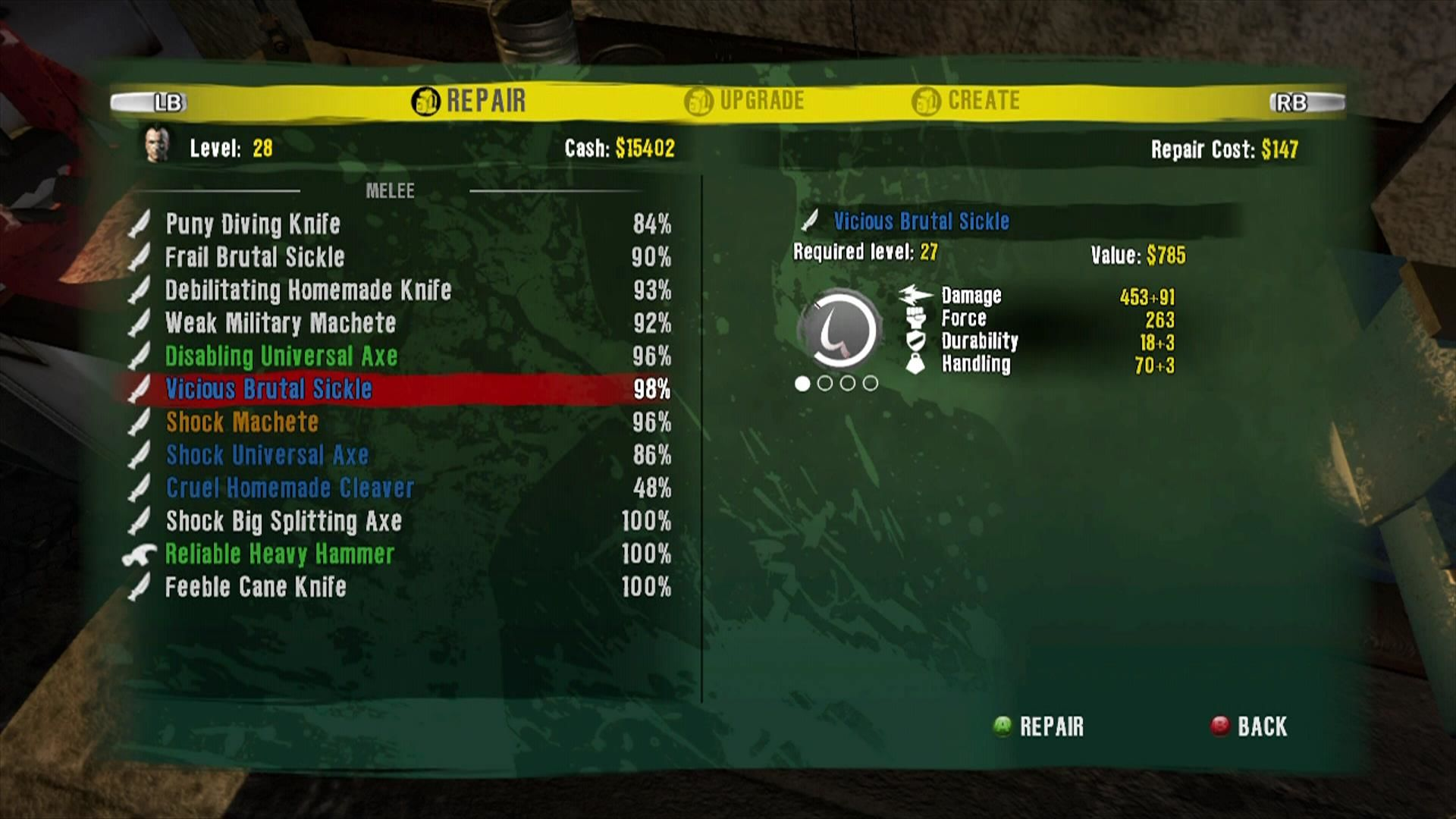 Dead Island Xbox 360 Usage wears weapons down. Repair them to keep their damage high.