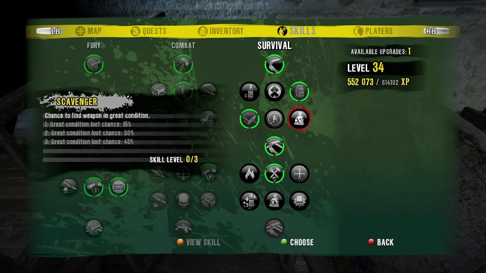 Dead Island Xbox 360 Skill screen. There are four different characters with three skill trees each.