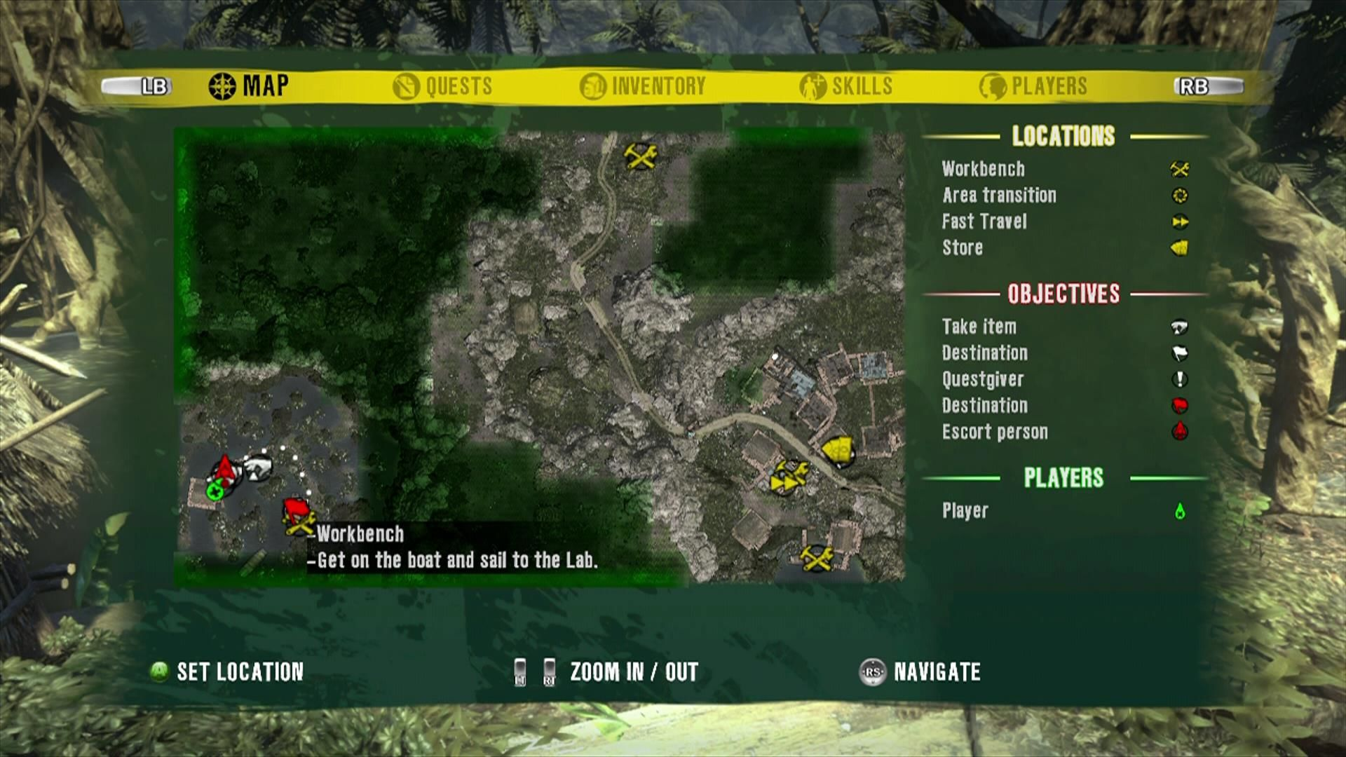 Dead Island Xbox 360 Map with points of interest and some basic route information