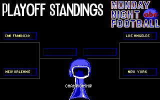 ABC Monday Night Football DOS Play-off standings (EGA/Tandy)