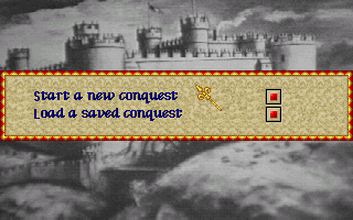Lords of the Realm Amiga Main Menu: Start or Load a Conquest