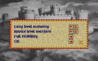 Lords of the Realm Amiga Main Menu: Set difficulty levels