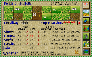 Lords of the Realm Amiga Crop menu.