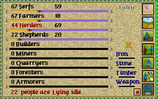 Lords of the Realm Amiga Worker menu.