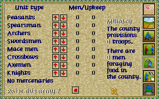 Lords of the Realm Amiga Military unit menu.