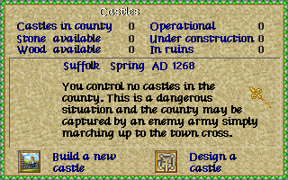 Lords of the Realm Amiga Castle menu.