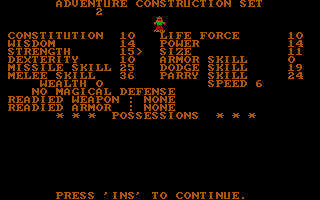 Stuart Smith's Adventure Construction Set DOS Character Profile (CGA)