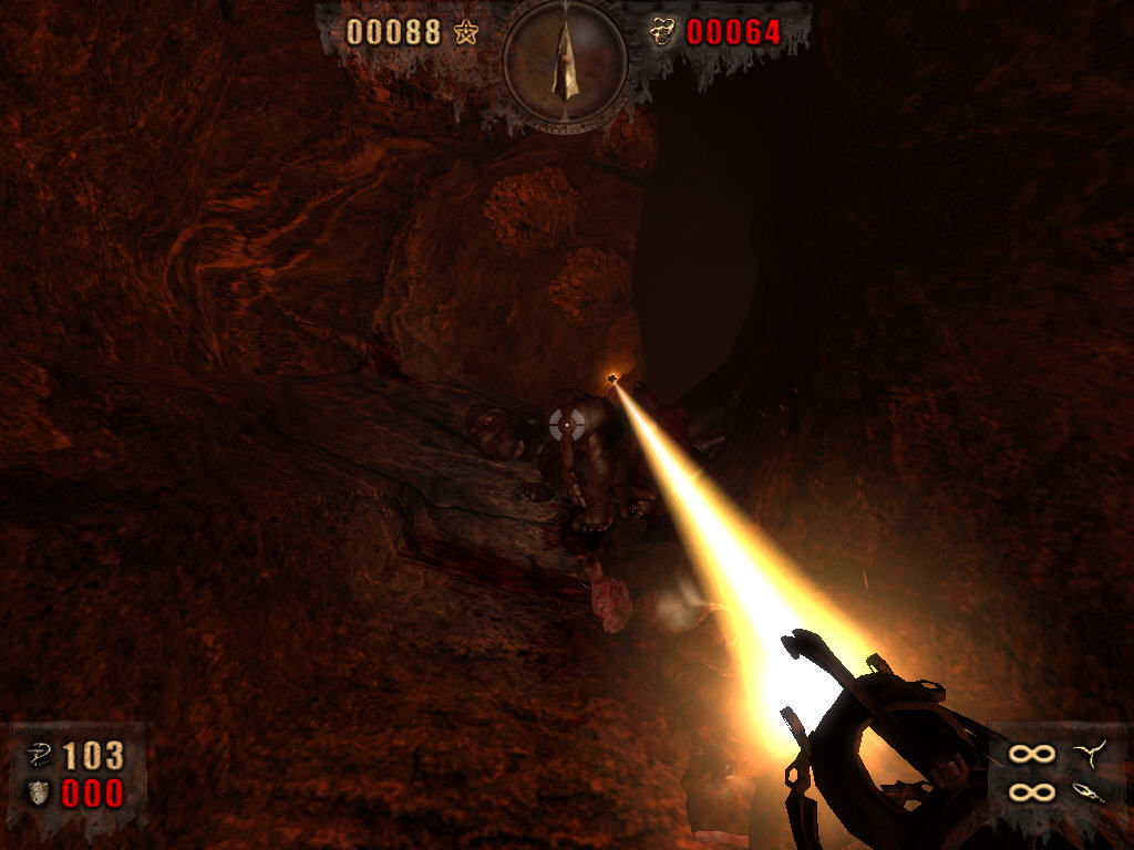 Painkiller: Resurrection Windows underground tunnel with some enemies. Painkiller gun works correctly.