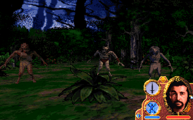 Lands of Lore: Guardians of Destiny DOS Savage Jungle. It's dark, and you meet some interesting characters