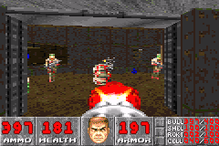 DOOM Game Boy Advance Exploding barrel can kill some enemies.