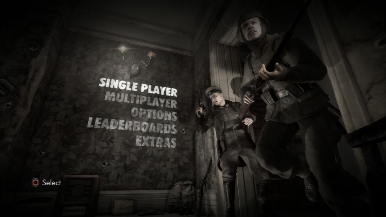 Sniper Elite V2 PlayStation 3 Main menu