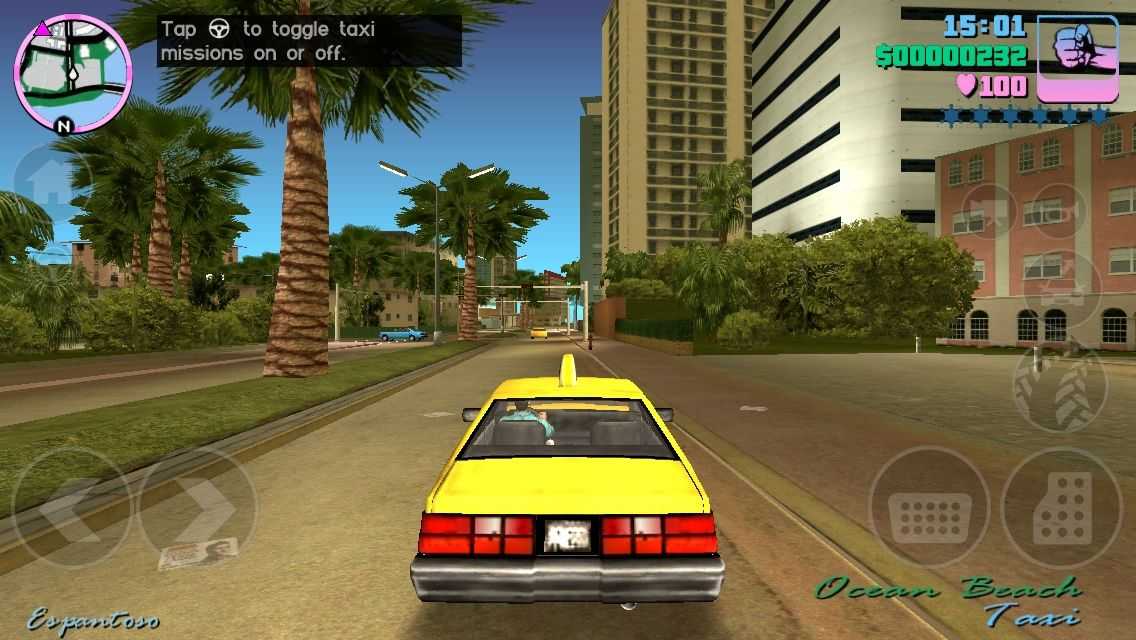 Grand Theft Auto: Vice City iPhone Driving in the sun in a stolen Taxi