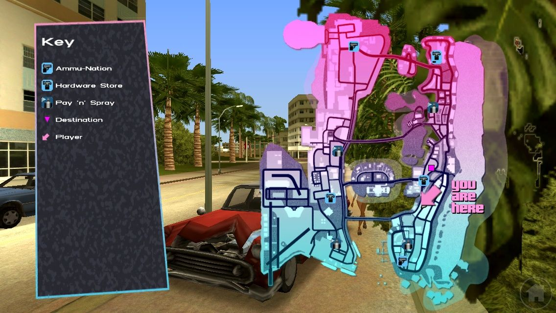 Grand Theft Auto: Vice City iPhone Pull up maps are helpful getting around Vice City