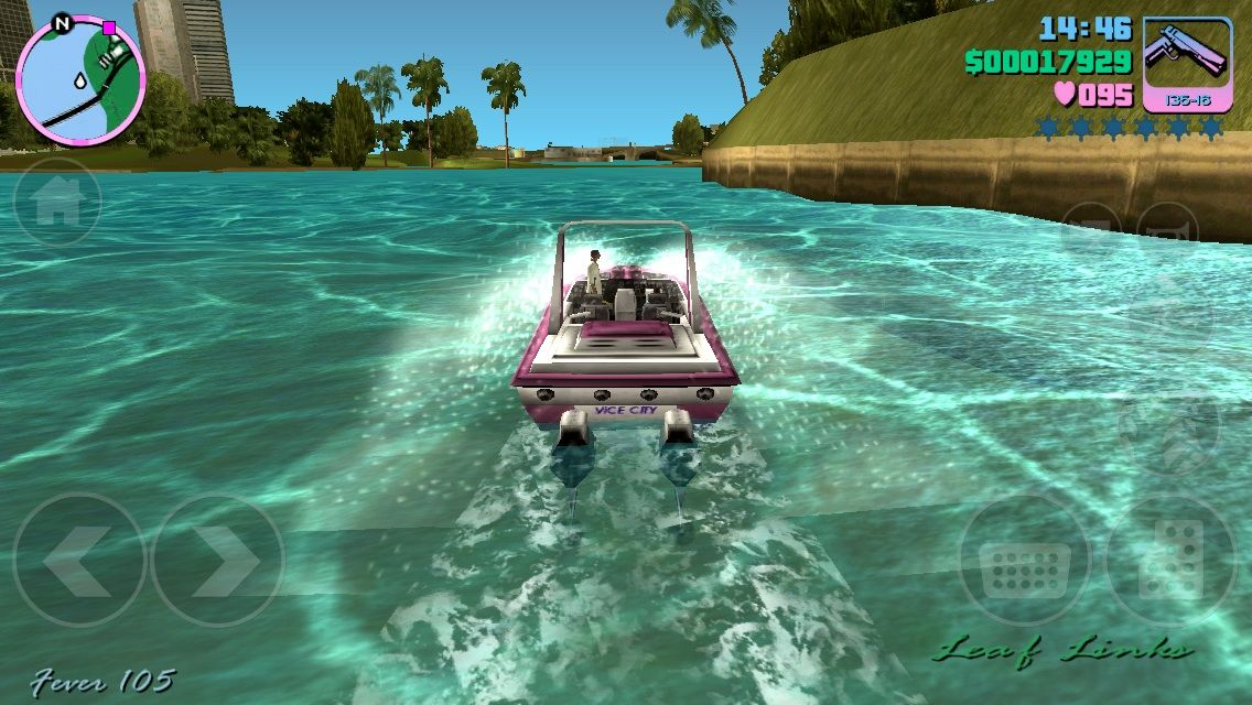 Grand Theft Auto: Vice City iPhone Flying threw crystal clear waters in a 1980 Speed Boat