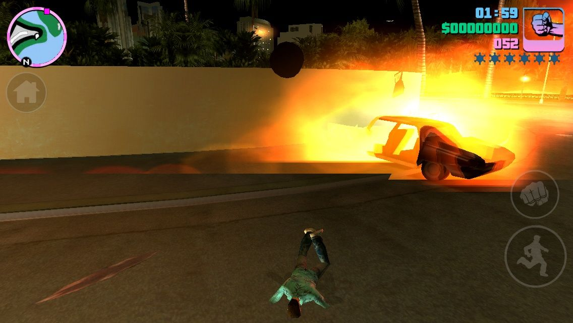 Grand Theft Auto: Vice City iPhone Car explodes