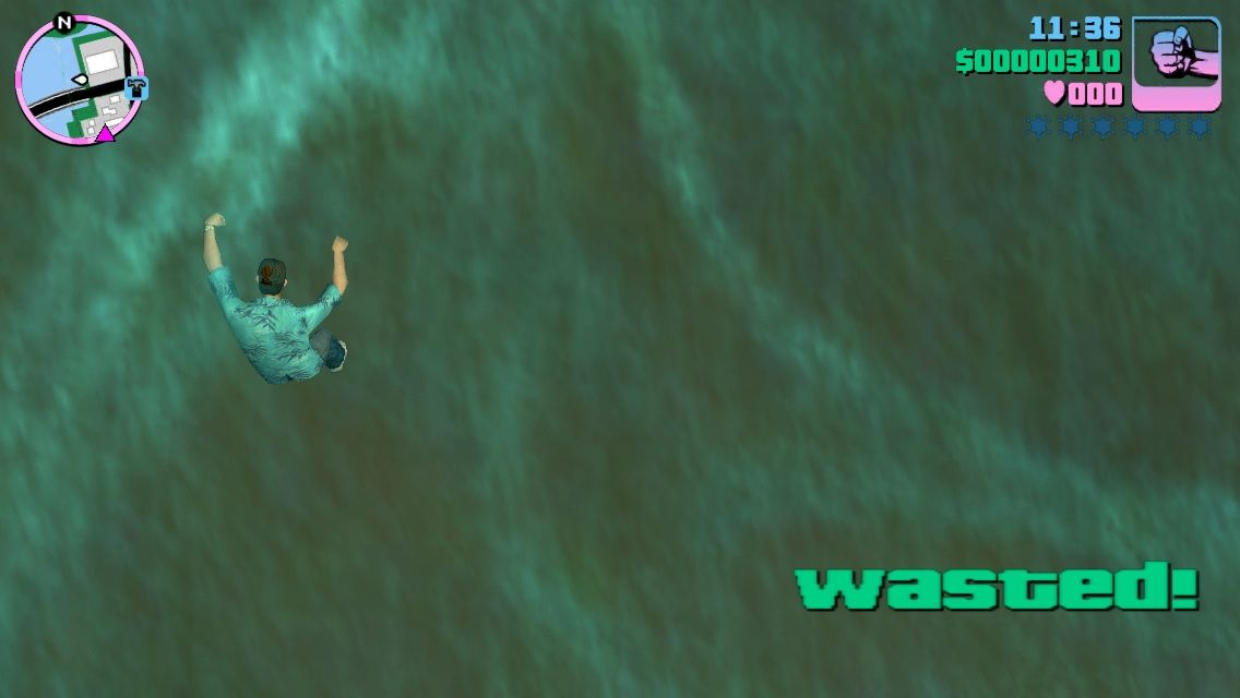 Grand Theft Auto: Vice City iPhone Falling in the water you die because you can't swim