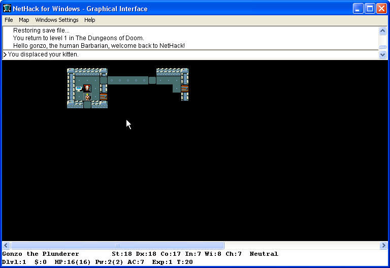 NetHack Windows 1 level barbarian - long or very short life?