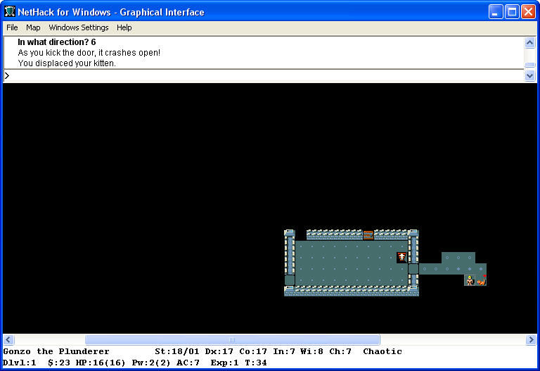 NetHack Windows Kick the door.