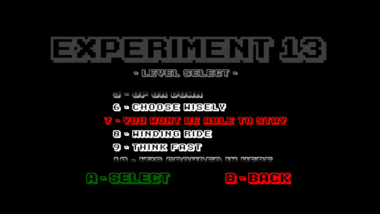 Experiment 13 Xbox 360 You can replay any completed stage.