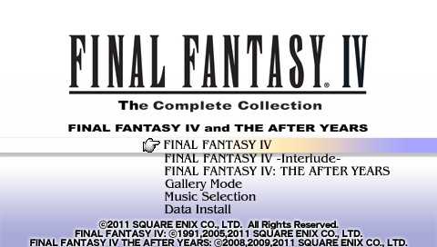 Final Fantasy IV: The Complete Collection PSP Title screen and main menu (US version)