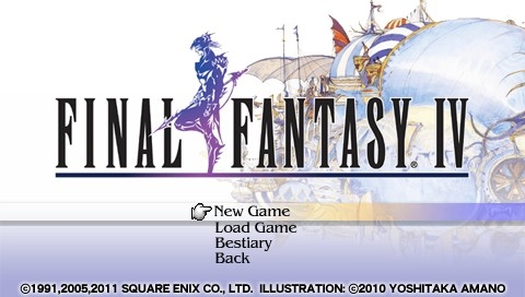 Final Fantasy IV: The Complete Collection PSP Final Fantasy IV: Title screen and main menu