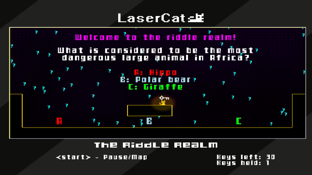 LaserCat Xbox 360 You need to correctly answer a trivia question or riddle to collect each key.