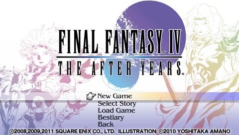 Final Fantasy IV: The Complete Collection PSP The After Years: Title screen and main menu