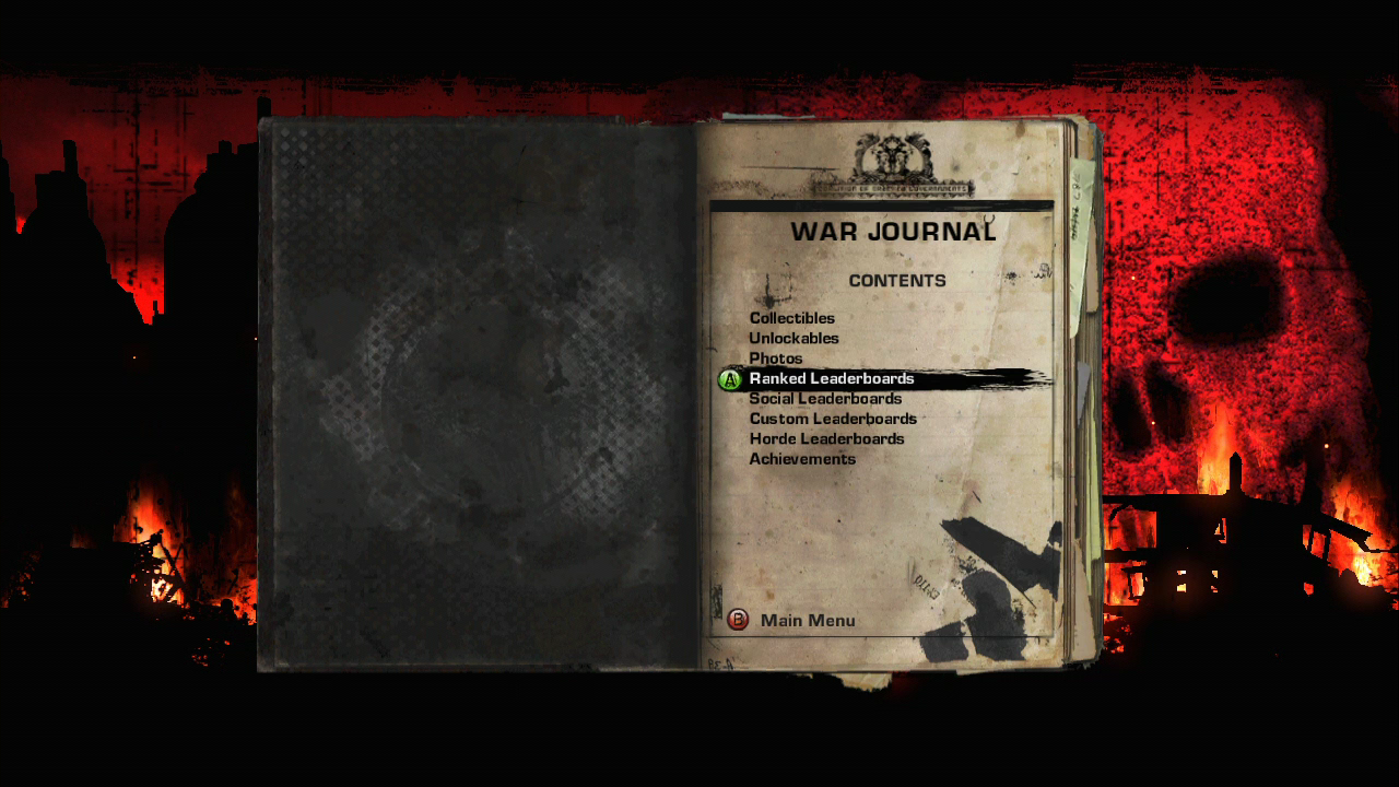 Gears of War 2 Xbox 360 The war journal records your multiplayer statistics, collectibles and achievements.