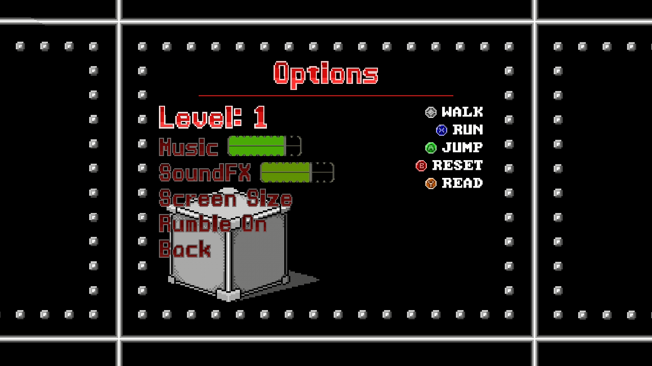 Alawishus Pixel Xbox 360 Options menu.