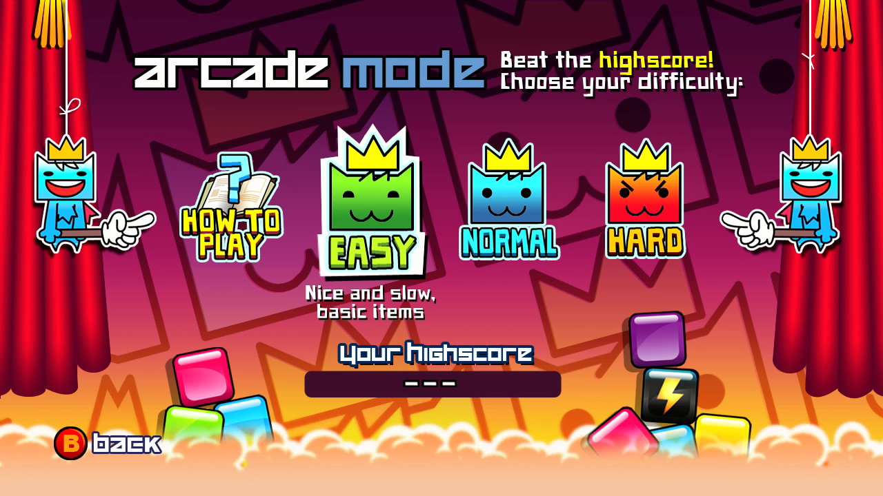 SWAP! Xbox 360 Arcade mode is just you versus an endless stack of blocks.