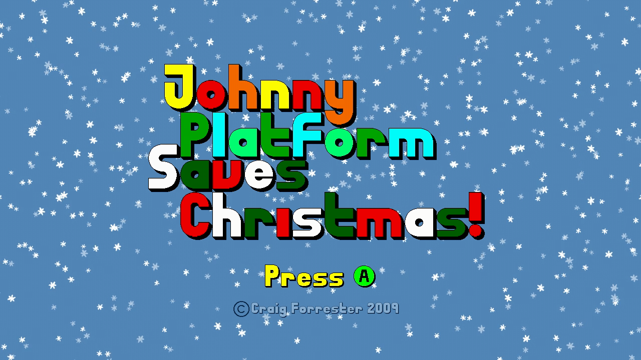 Johnny Platform Saves Christmas! Xbox 360 Title screen.