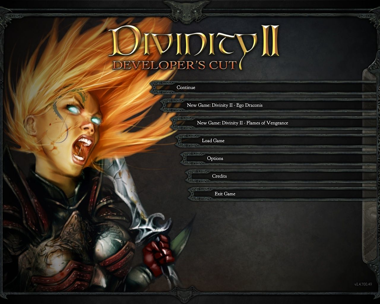 Divinity II: Developer's Cut Windows Main menu