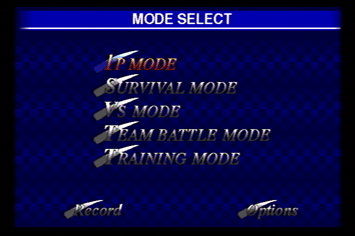 Fighters Megamix SEGA Saturn Main Menu