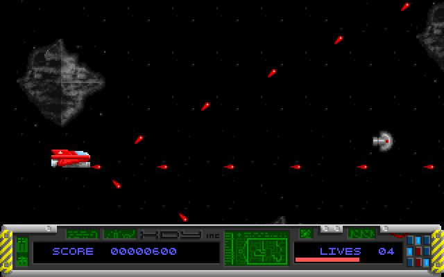 Mission Cobra 98 DOS here the TRIPLE FIRE power up has been grabbed. The grey object ahead is another power up.