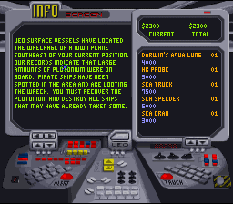 SeaQuest DSV SNES New Mission objectives show up from the UEO
