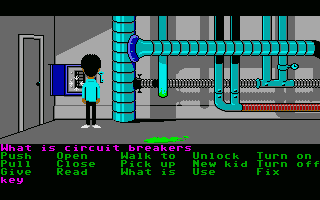 Maniac Mansion Atari ST Checking out the circuit breaker.