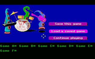 Maniac Mansion Atari ST Save / Load game menu.