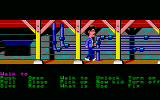 Maniac Mansion Atari ST Pipes under the mansion.
